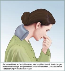 Der Patient soll sich hinsetzen und die Nase mit leichtem Druck zudrücken