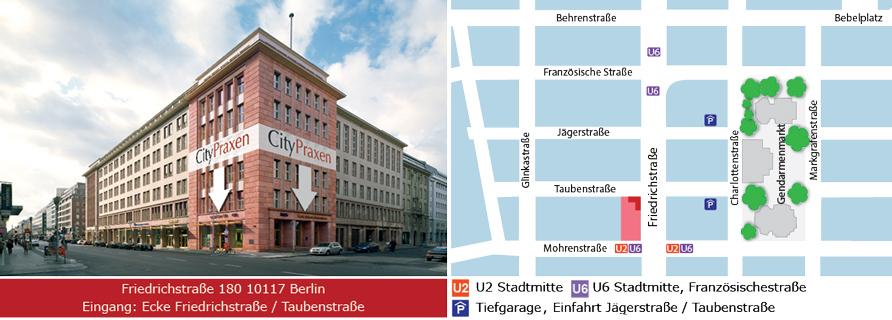 Öffnungszeiten, Anfahrt, Eingang CityPraxen Berlin