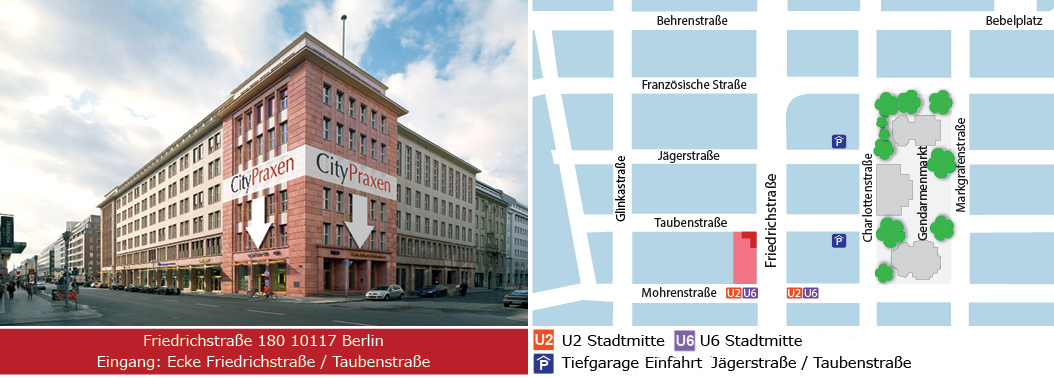 Karte, Anfahrt, Eingang CityPraxen Berlin